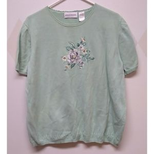 Alfred Dunner seafoam green embroidered sweater